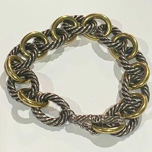 David Yurman 18k & 925 Silver Link Bracelet